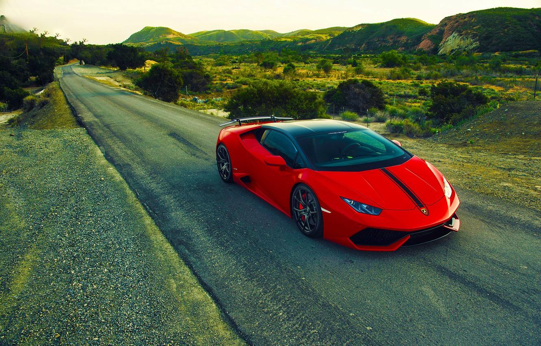 Photo wallpaper Lamborghini, Red, Front, Vorsteiner, Aero, Road, Verona, Rich, 2015, Huracan, LP640-4, Edition