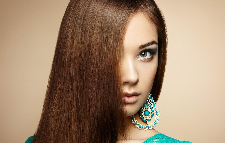 Photo wallpaper look, girl, earrings, makeup, hairstyle, girl, hair, bangs, look, makeup, earrings, hairdo