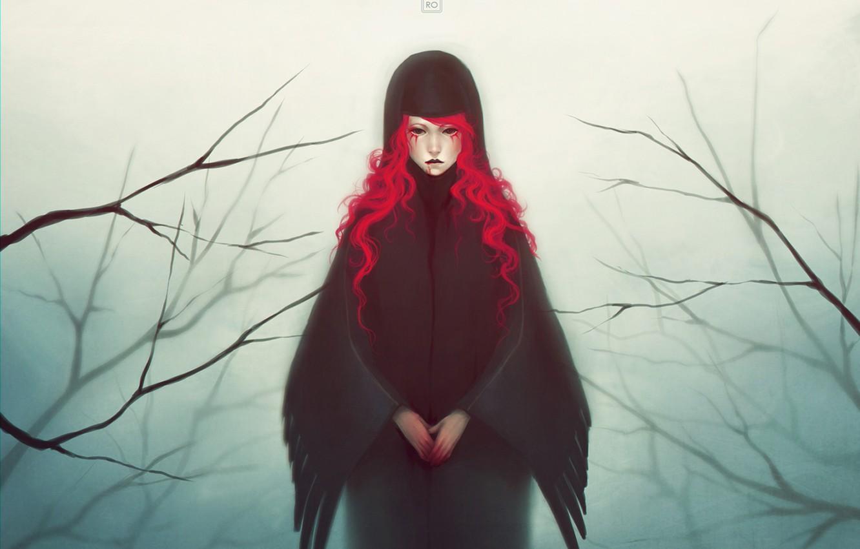 Photo wallpaper girl, branches, blood, wings, art, red hair, mezamero