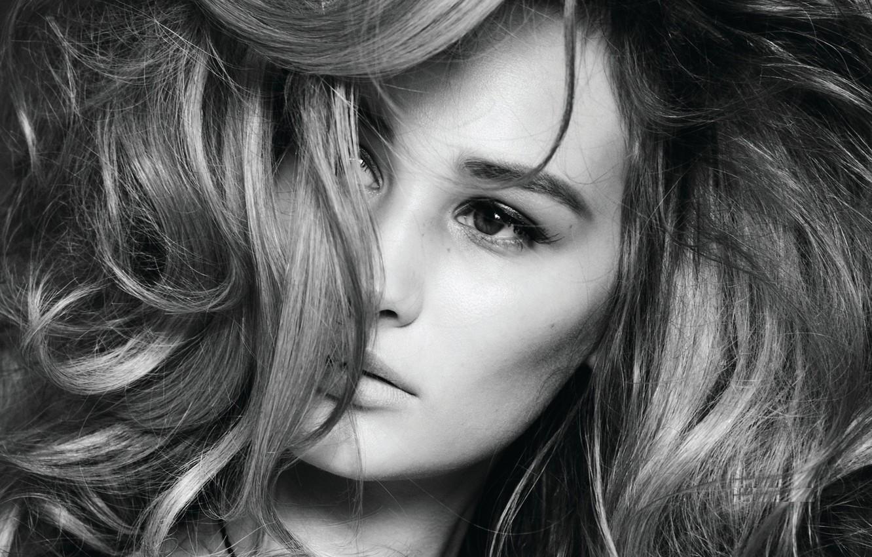 Photo wallpaper face, model, hair, black and white, closeup, Anna Wasacz Carter