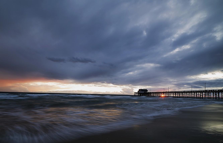 Wallpaper Sea Bridge Newport Beach Stormy Sunset Images For Desktop Section Pejzazhi Download