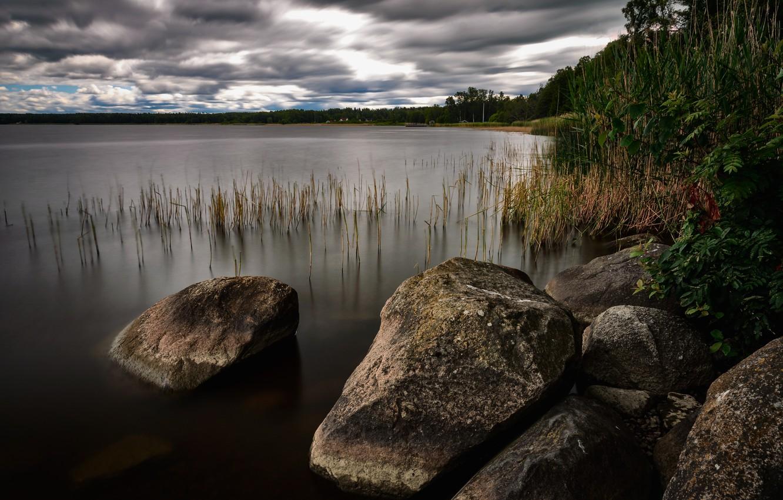Photo wallpaper lake, stones, landscapes, Nature, lake, stones