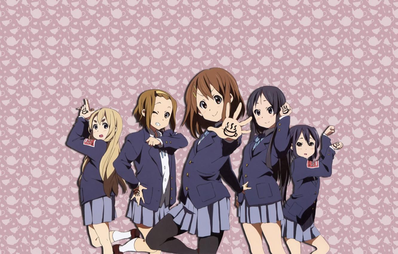 Photo wallpaper Girls, Minimalism, Pink Background, Anime, Mugs, Girls, Anime, Girls, Group, K-on, Kaon, Manga, Manga, Nyasha, …