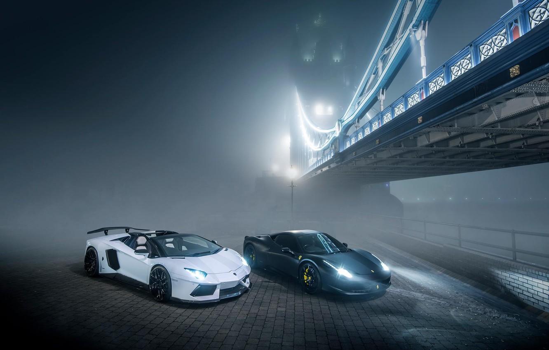 Photo wallpaper Lamborghini, Ferrari, 458, Bridge, Night, Aventador, Fog, GFWilliams Photographer
