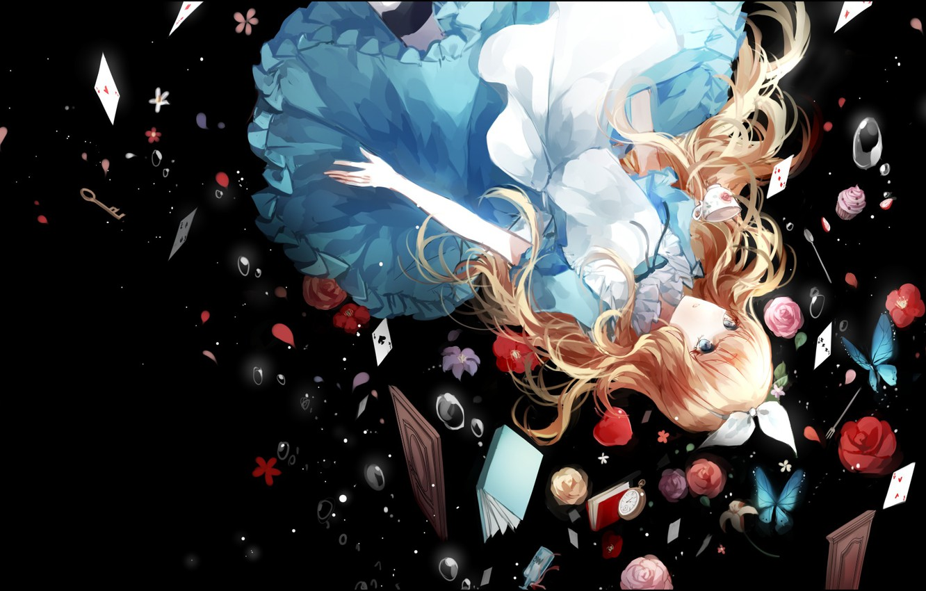 Wallpaper Card Girl Flowers Roses Anime Drop Art Alice