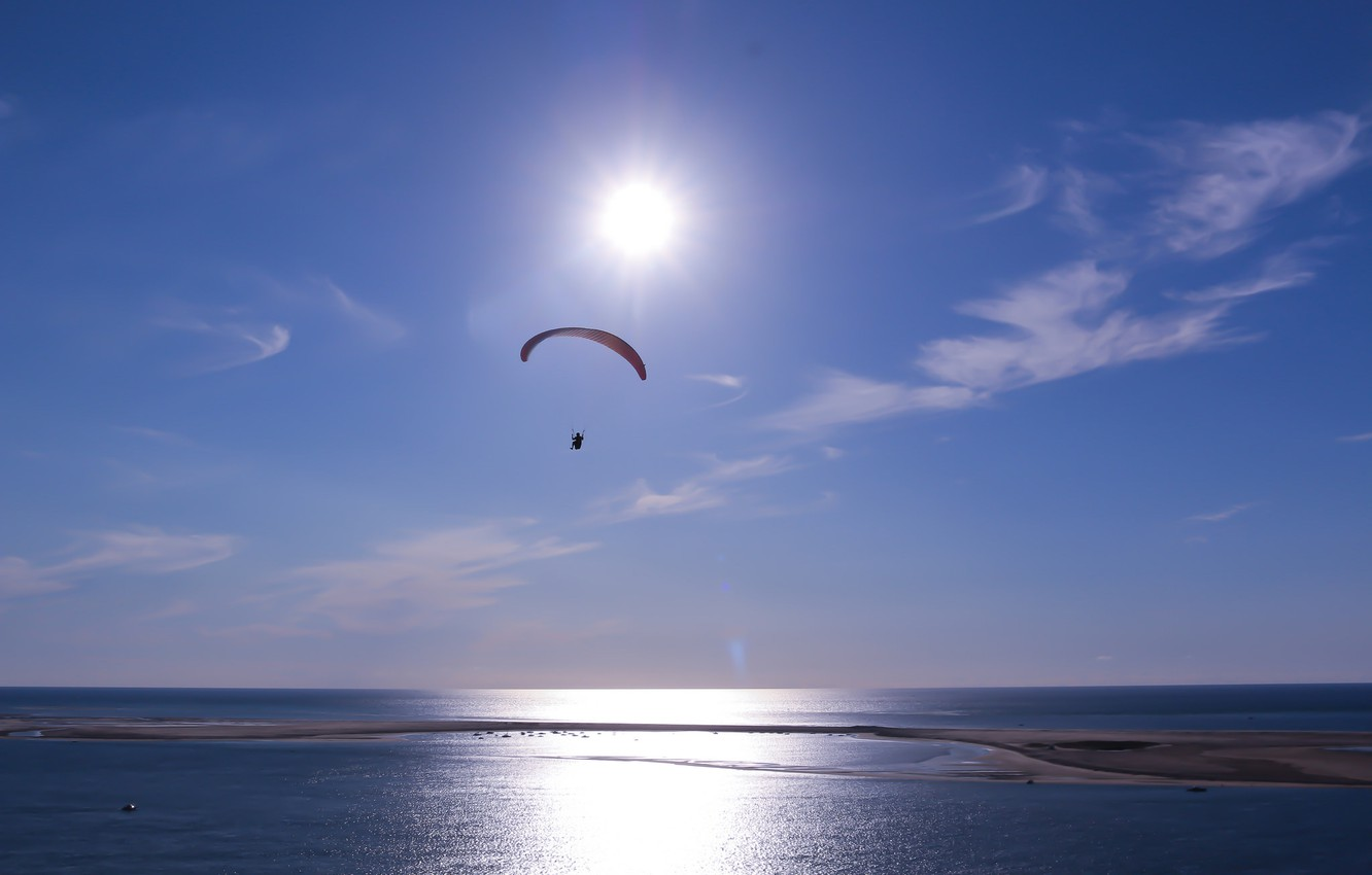 Photo wallpaper sea, the sky, the sun, clouds, parachute, paraglider