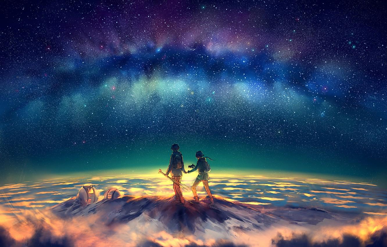Photo wallpaper stars, night, mountain, Northern lights, peak, art, yuumei
