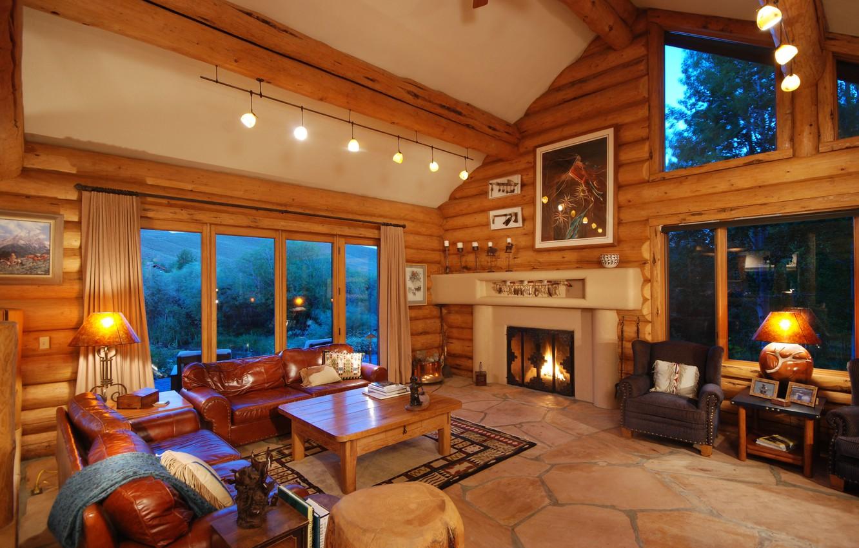 Photo wallpaper comfort, sofa, Windows, interior, fireplace