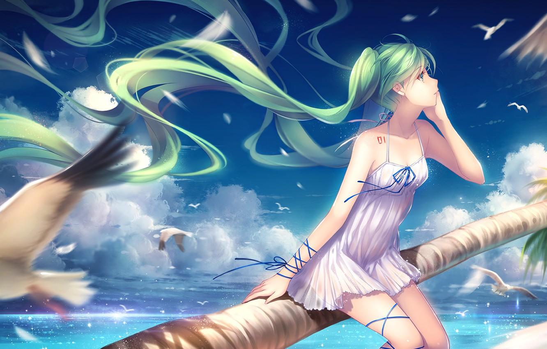 Photo wallpaper sea, the sky, girl, clouds, shore, seagulls, anime, art, vocaloid, hatsune miku, tidsean