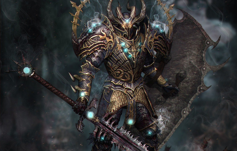 Photo wallpaper magic, blood, smoke, sword, armor, shield, Knight, burning eyes