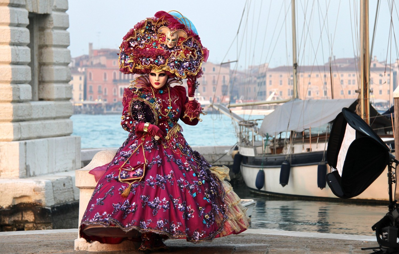 Photo wallpaper dress, mask, costume, carnival, Venice