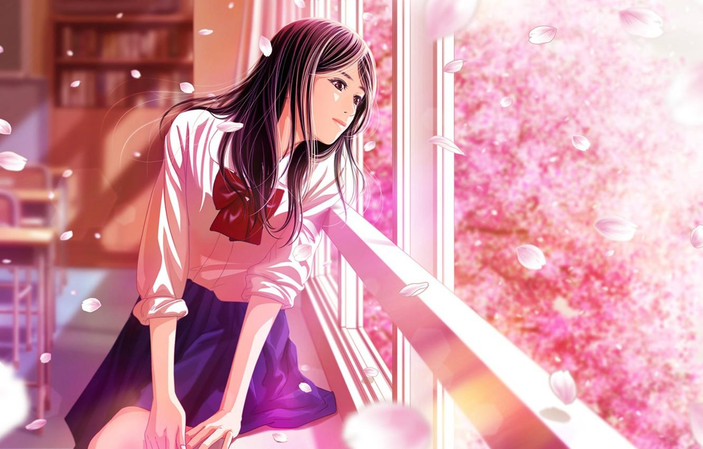 Photo wallpaper class, schoolgirl, bow, desks, window, cherry blossoms, flowering in the spring
