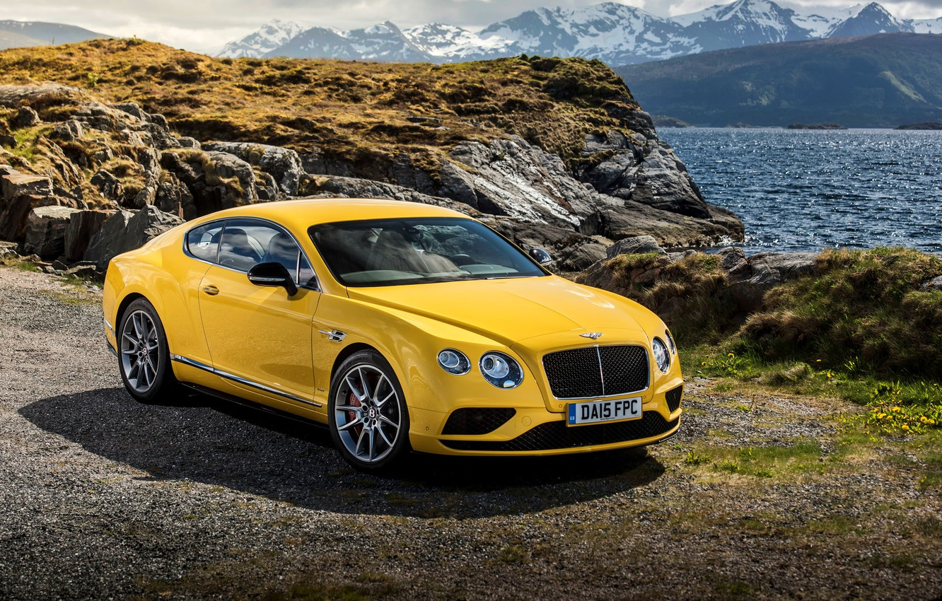 Photo wallpaper yellow, Bentley, Continental, Bentley, continental, V8 S, 2015