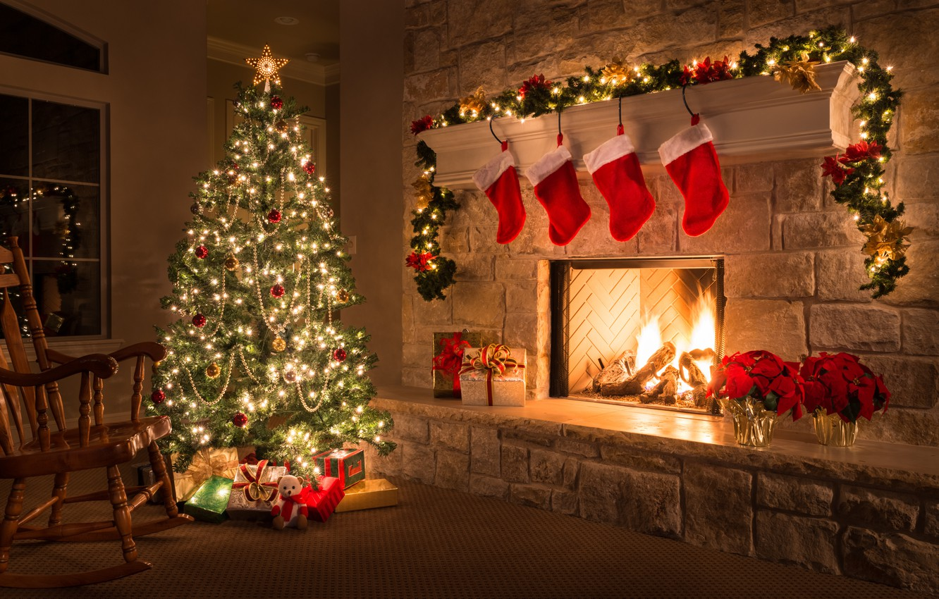 Photo wallpaper decoration, tree, Christmas, gifts, New year, fireplace