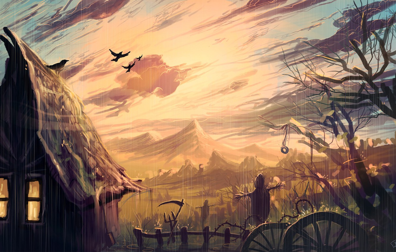 Photo wallpaper the sky, light, the fence, art, crows, house, the shower, Scarecrow