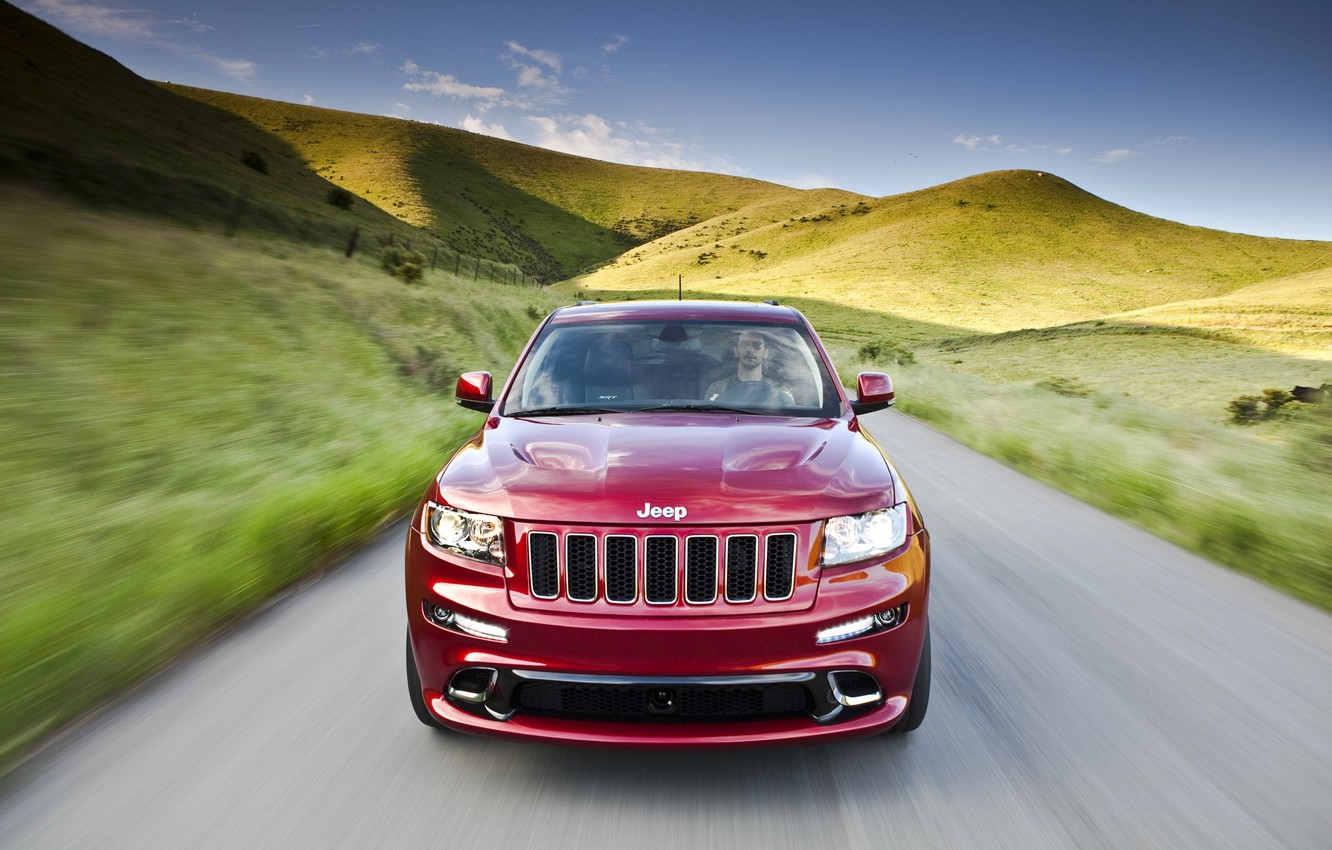 Photo wallpaper Red, The hood, Hills, Lights, Driver, Jeep, The front, Dog, GRANDCHEROKEE