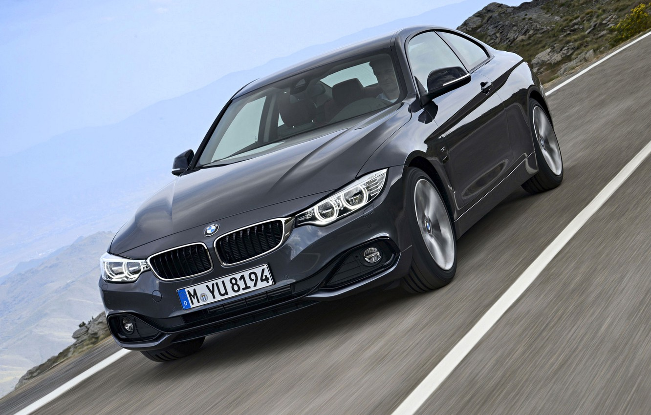 Photo wallpaper road, landscape, coupe, BMW, the fourth series