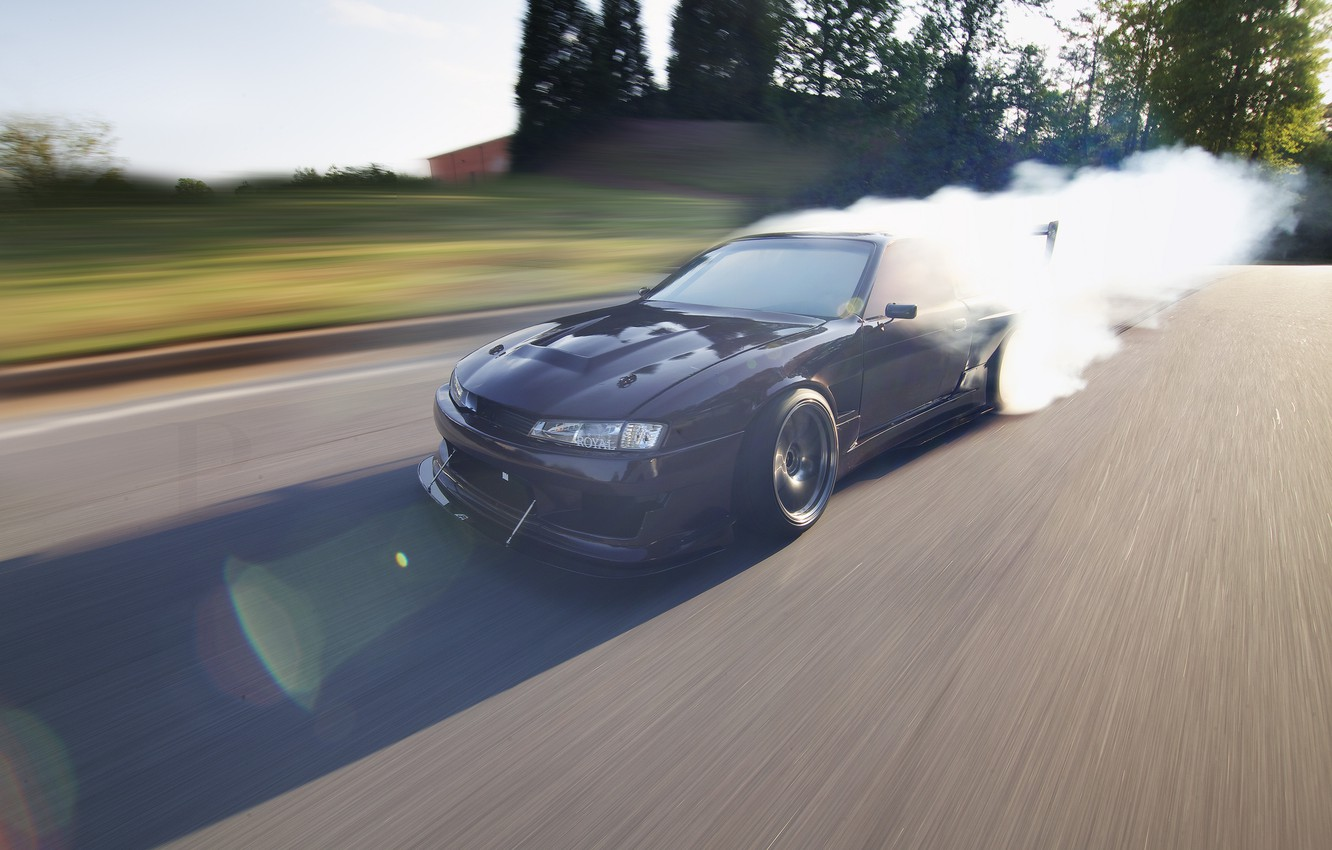 Photo wallpaper the sun, glare, speed, ray, drift, Nissan, drift, Nissan, silvia, burnout, 240, Sylvia, s14