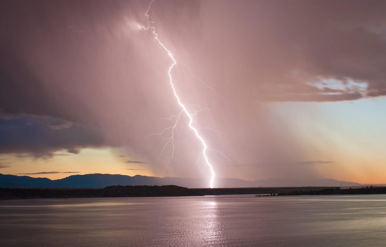 Photo wallpaper the storm, the sky, sunset, lake, lightning, the evening, Colorado, USA, USA, storm, sky, lightning, …