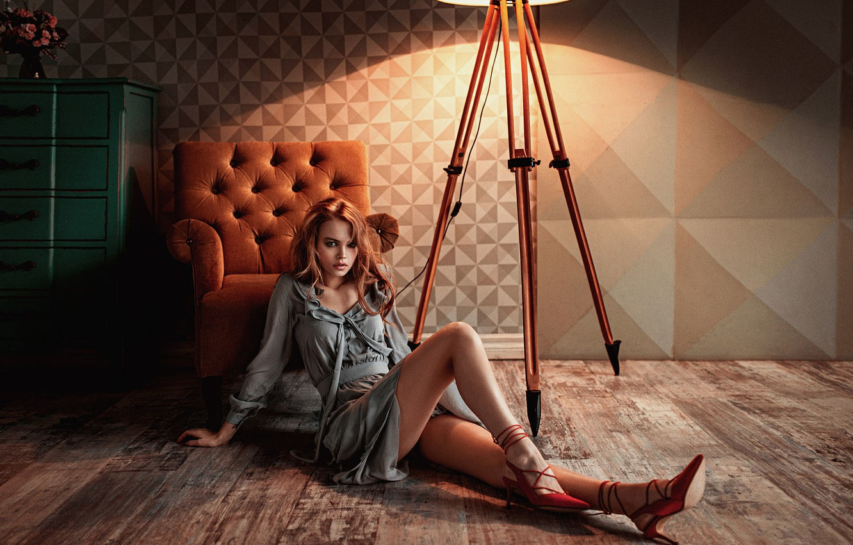 Photo wallpaper Girl, Chair, Look, Lamp, Light, Beautiful, Anastasia Shcheglova, Lightroom