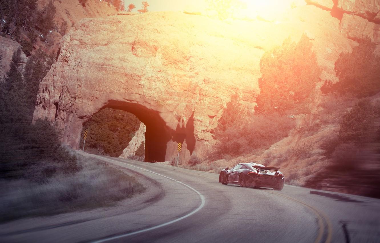Photo wallpaper McLaren, Sunset, Smoke, Supercar, Rear, Drifting
