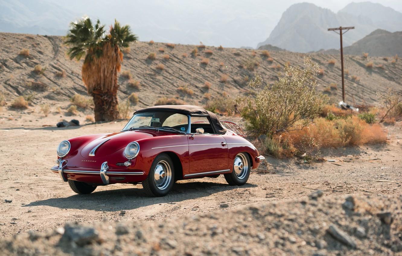 Photo wallpaper car, red, desert, red, convertible, classic, classic, german, PORSCHE, 356B, ROADSTER