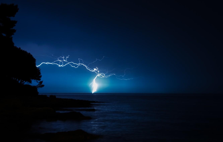 Photo wallpaper sea, the sky, night, element, lightning
