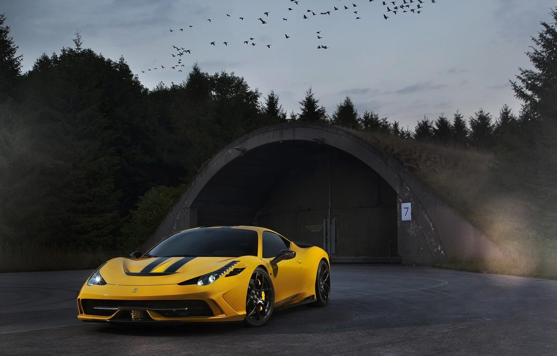 Photo wallpaper the sky, birds, yellow, ferrari, twilight, Ferrari, yellow, 458 speciale