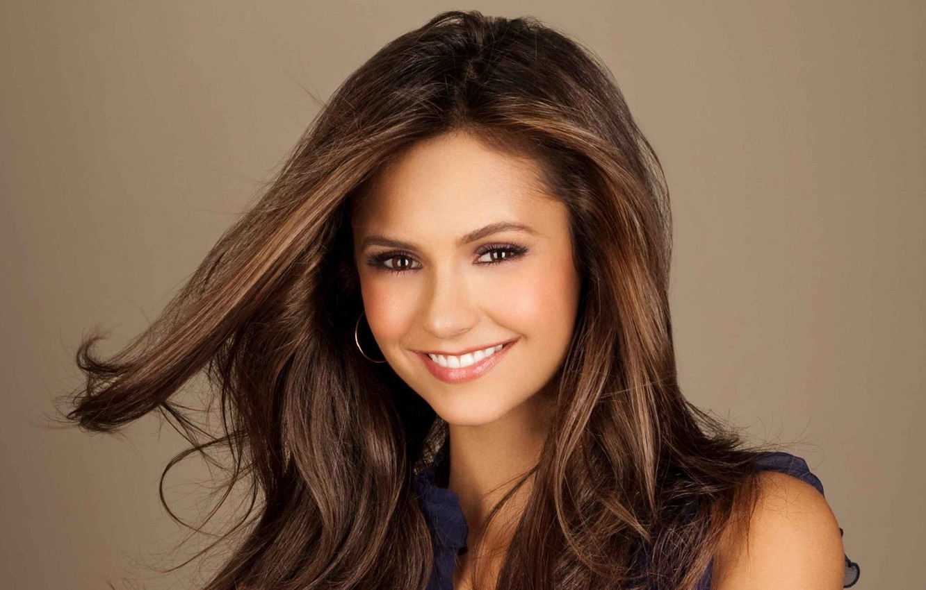 Photo wallpaper look, girl, joy, smile, background, movies, hair, star, actress, brunette, the series, the vampire diaries, …