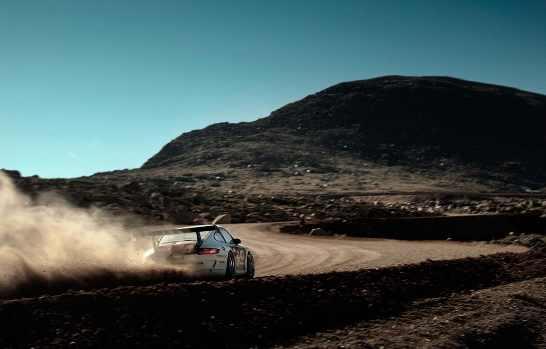 Photo wallpaper road, machine, mountain, speed, dust, 911, Porsche