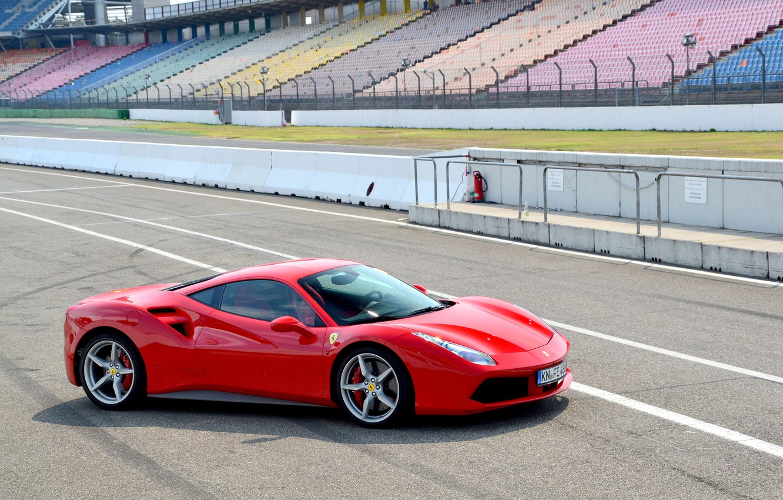 Photo wallpaper Ferrari, Red, GTB, 488
