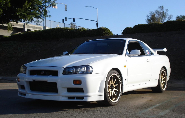 Photo wallpaper GTR, Nissan, White, Skyline, R34
