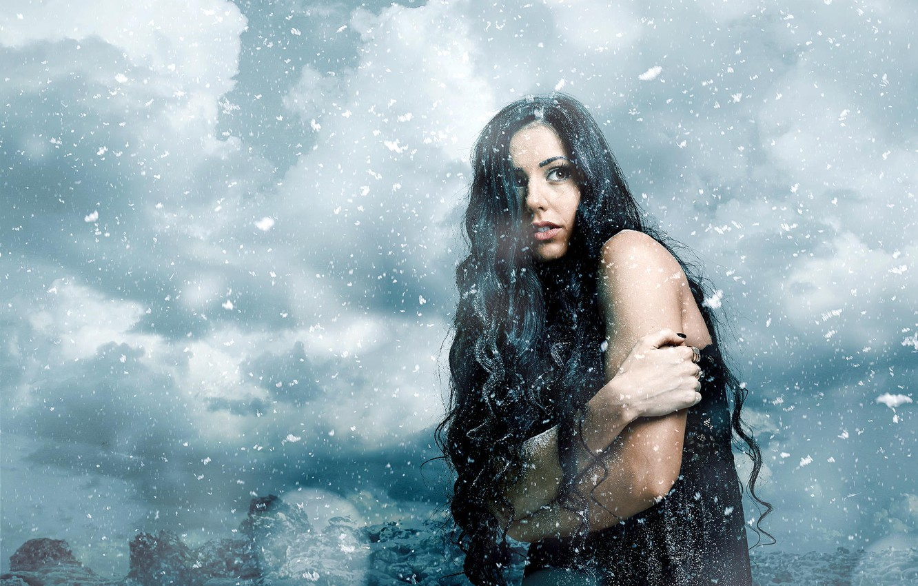 Photo wallpaper winter, girl, snow, snowflakes, the wind, cold