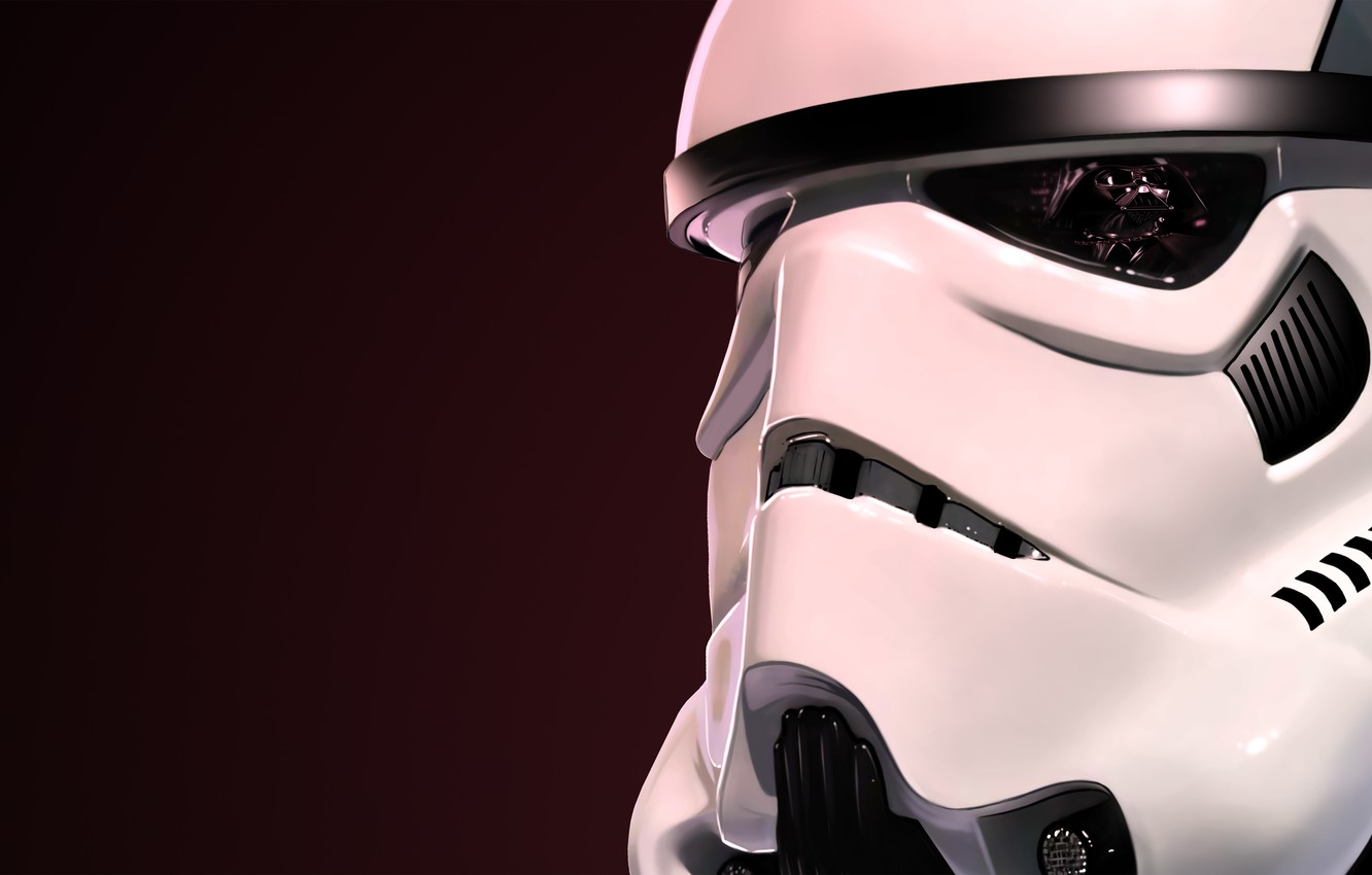 Photo wallpaper reflection, helmet, star wars, darth vader, attack, clone, stormtrooper