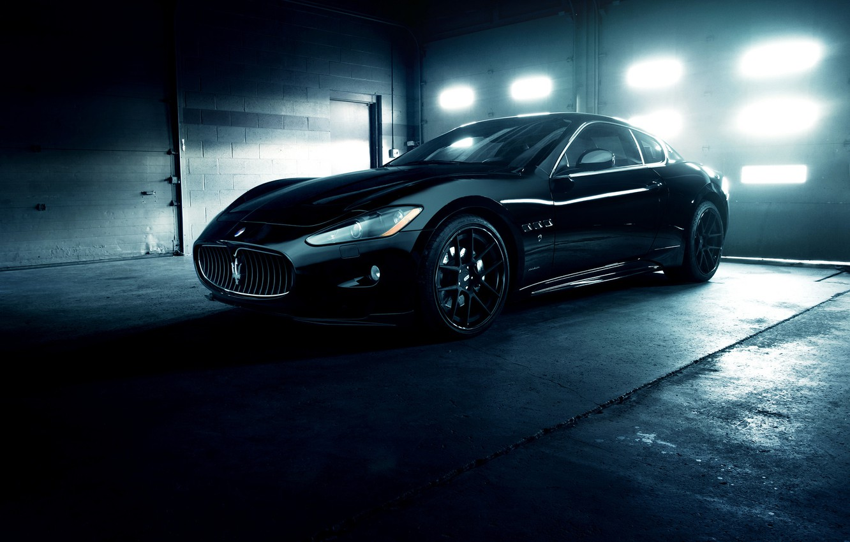 Photo wallpaper Maserati, Front, GranTurismo, Black, Wheels, Garage, ADV.1, Ligth