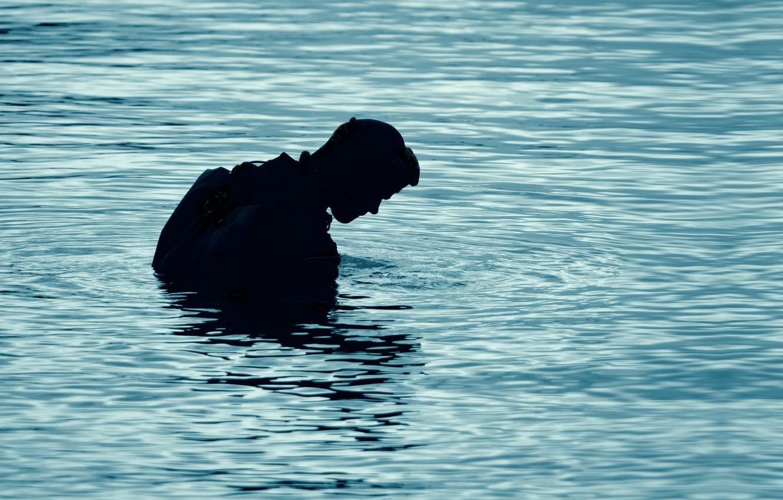 Photo wallpaper lake, silhouette, diving