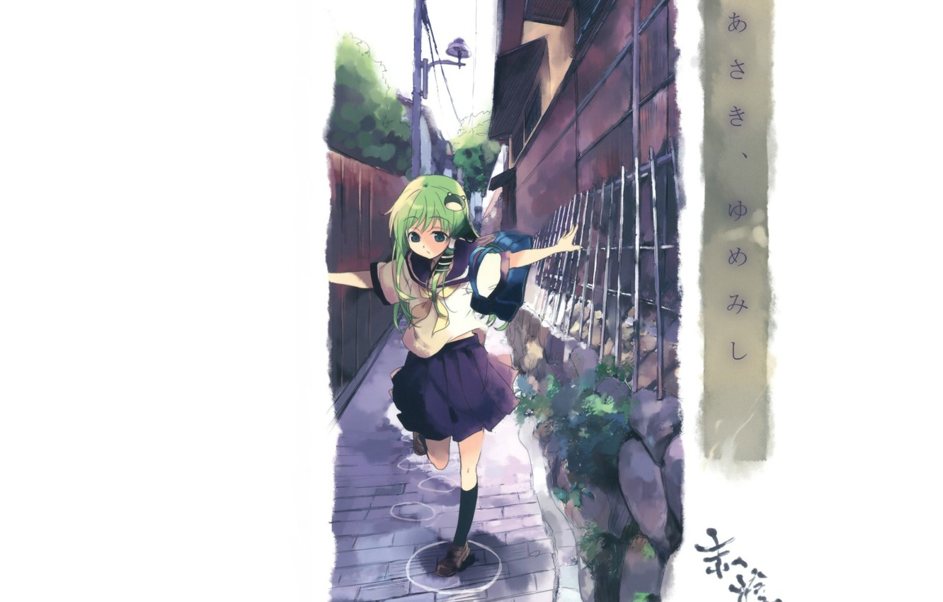 Photo wallpaper street, the fence, post, white background, schoolgirl, bag, sailor, touhou projeck, art kochi have done