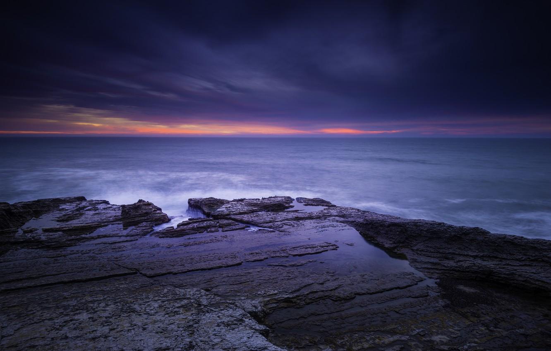 Photo wallpaper sea, beach, clouds, dawn, morning