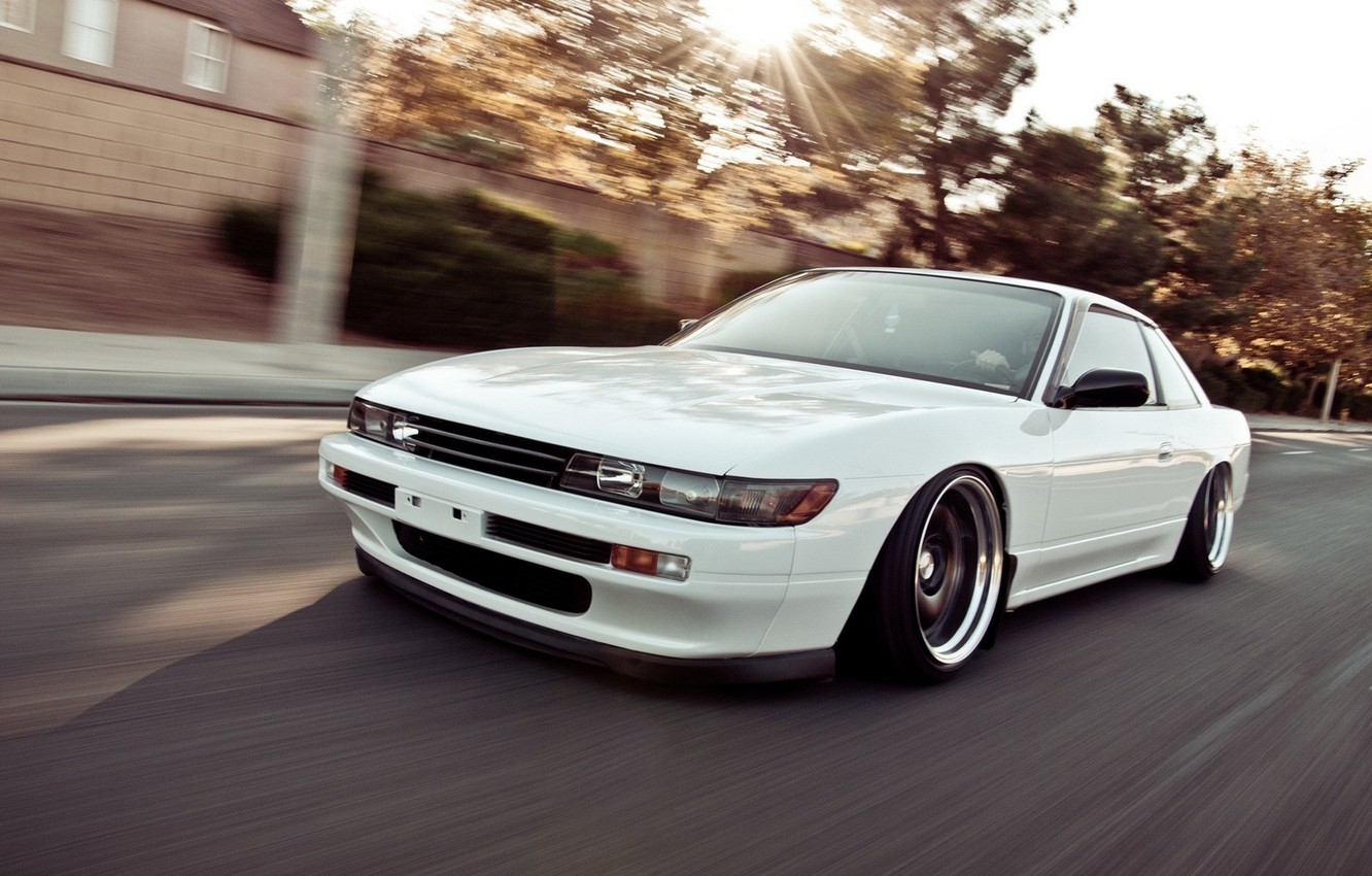Photo wallpaper car, white, speed, nissan, white, car, style, Nissan, jdm, tuning, silvia, speed, s13, nation, rides, ...