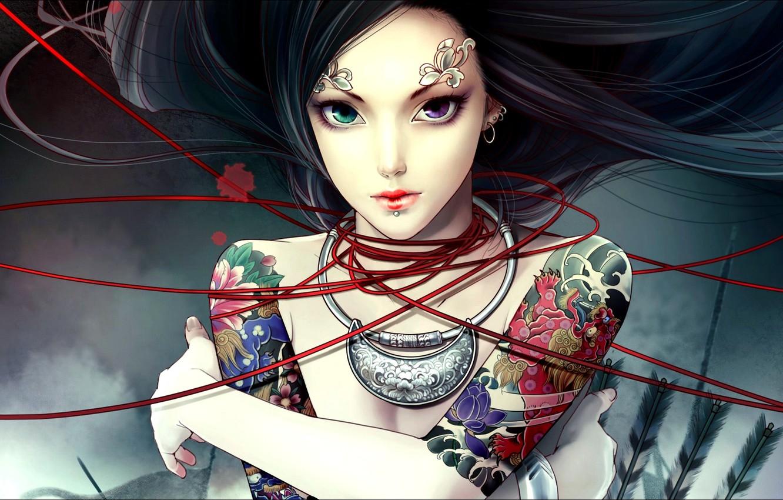 Photo wallpaper eyes, tattoo, thread