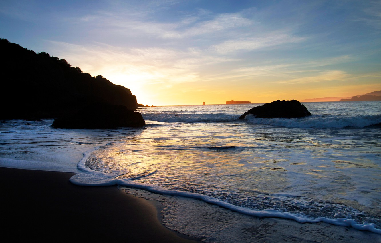 Photo wallpaper sand, sea, beach, foam, water, sunset, shore, dal, the evening, stones., liner, tide, the contours