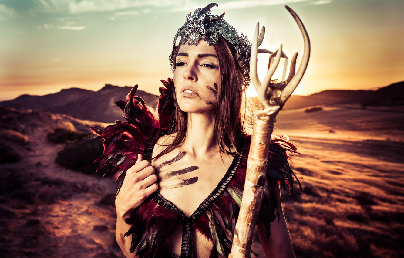Photo wallpaper girl, style, mood, crown, staff, Andrea Lynch