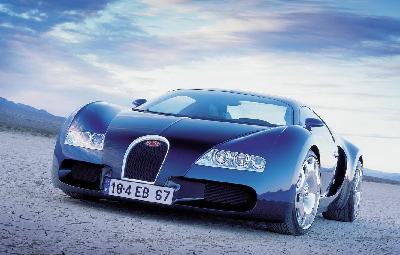 Photo wallpaper blue, desert, Auto, Bugatti