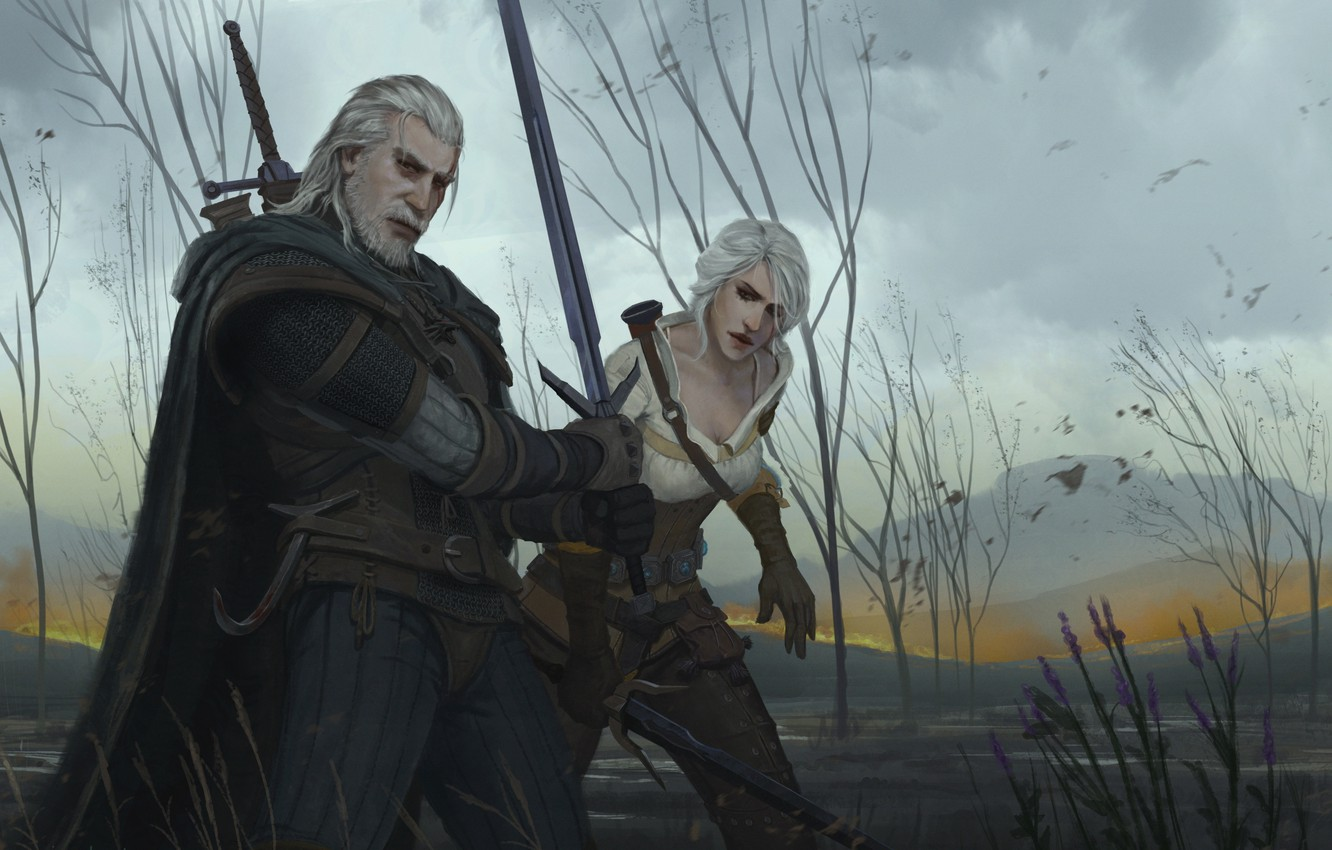 Wallpaper Ciri Geralt Cirilla The Witcher 3 Wild Hunt Geralt