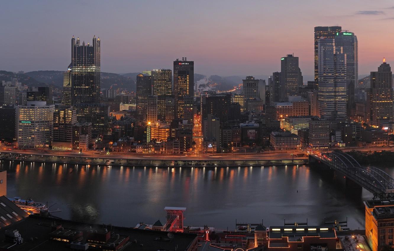 Photo wallpaper city, night, building