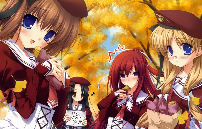 Photo wallpaper autumn, anime, school, girlfriend, scolmatore