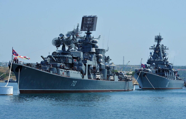 Photo wallpaper ship, ships, large, Moscow, Navy, Russia, cruiser, rocket, anti-submarine, Kerch, guards