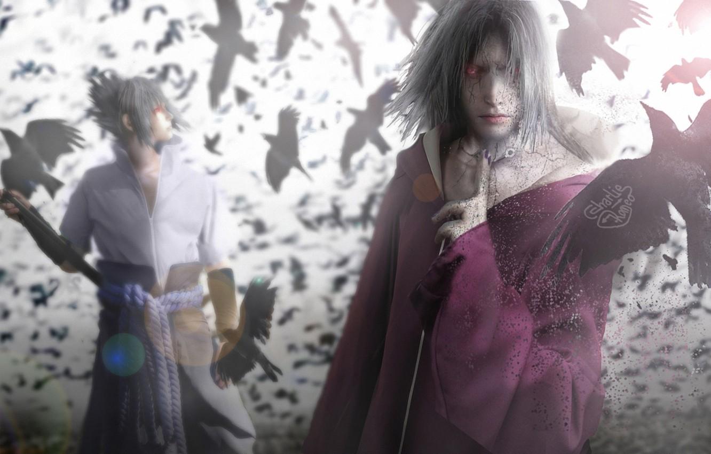 Photo wallpaper naruto, sharingan, sasuke uchiha, itachi uchiha