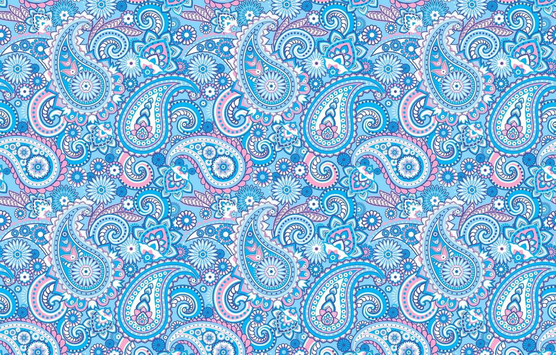 Photo wallpaper blue, pattern, ornament, Paisley, Indian cucumbers