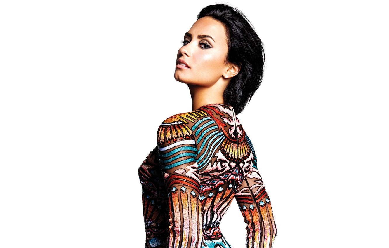 Photo wallpaper pose, makeup, figure, brunette, hairstyle, outfit, white background, singer, photoshoot, Demi Lovato, Demi Lovato, Confident, …